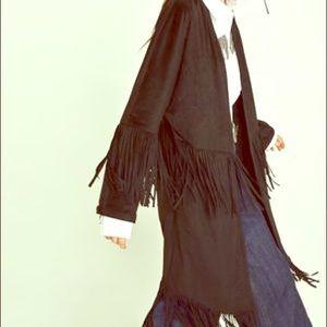 Zara (Trafaluc) faux suede fringe jacket